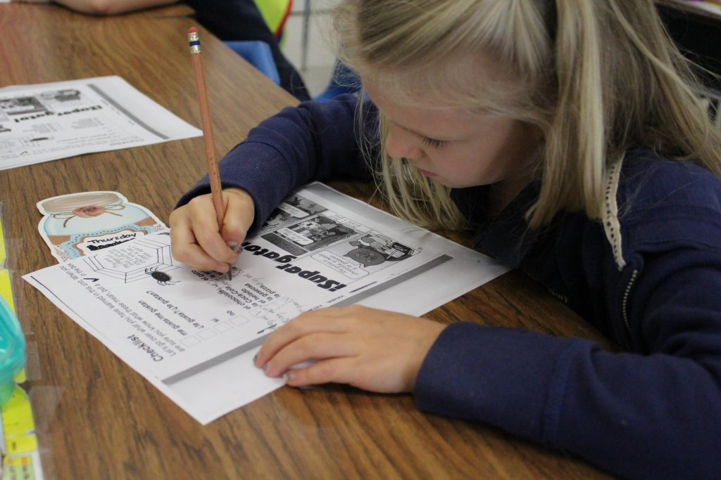 First grader doing worksheet image